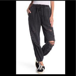 Free People Sloan Destructed Joggers Black NWT S